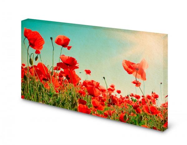 Magnettafel Pinnwand Bild Vintage Mohnblumen Feld Blumen
