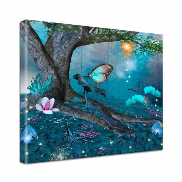 Leinwand Bild edel Fantasy Fantasiewald in blau und lila