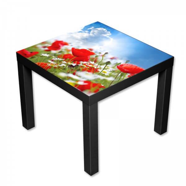 Beistelltisch Couchtisch mit Motiv Natur Blumen rote Mohnblumen
