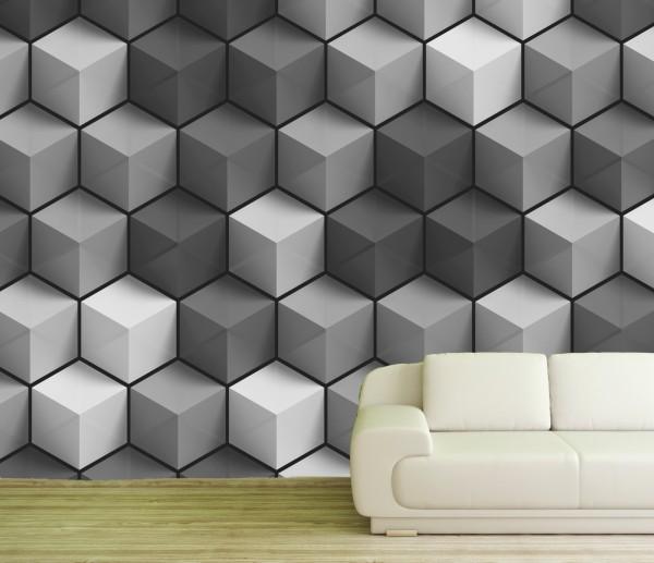 Vlies Tapete Poster XXL Fototapete Muster 3D Effekt Würfel Treppe