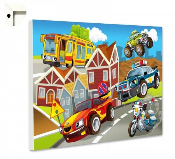 Magnettafel Motiv Kinder Rennwagen, Polizei & Motorrad
