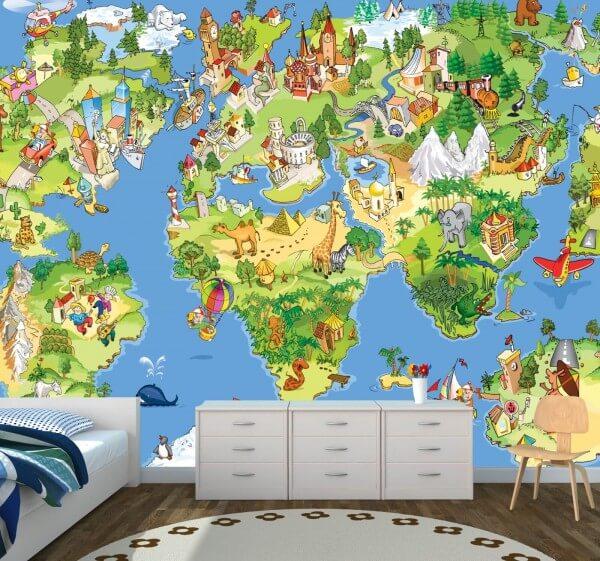 Vlies XXL-Poster Fototapete Kindertapete Kinder Weltkarte Landkarte ...