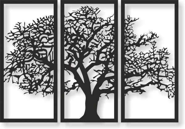 Bild Wandbild Wandtattoo Acryl Mobile Lebensbaum Baum 3-teilig