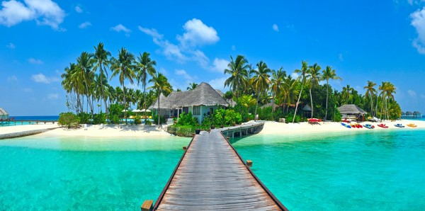 Magnettafel Pinnwand Bild XXL Panorama Karibik Urlaub Insel Steg