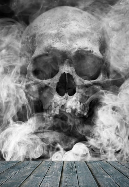 Vlies XXL Poster Fototapete Tapete Totenkopf im Rauchnebel