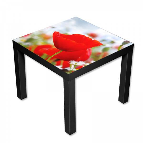 Beistelltisch Couchtisch mit Motiv Natur Eine rote Mohnblume