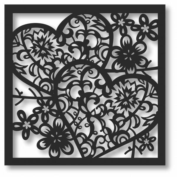 Bild Wandbild 3D Wandtattoo Acryl Mobile Herzen Herz Blumen Muster