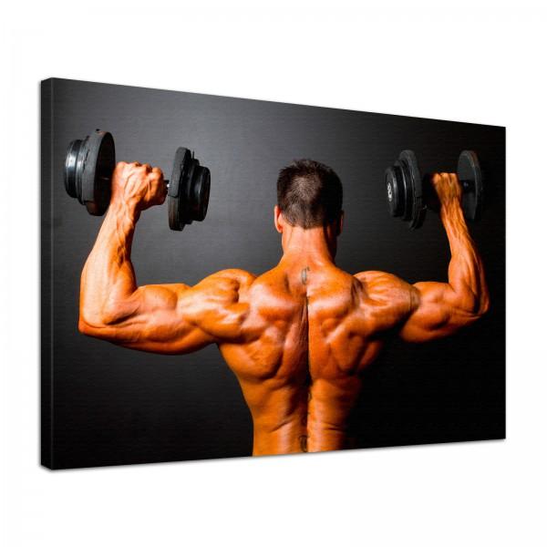 Leinwand Bild edel Fitness Bodybuilding Schulterdrücken