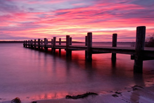 Magnettafel Pinnwand XXL Bild Natur Morgenrot Steg Meer