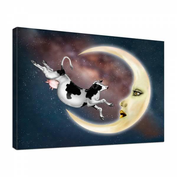 Leinwand Bild edel Fantasy Kuh Mond