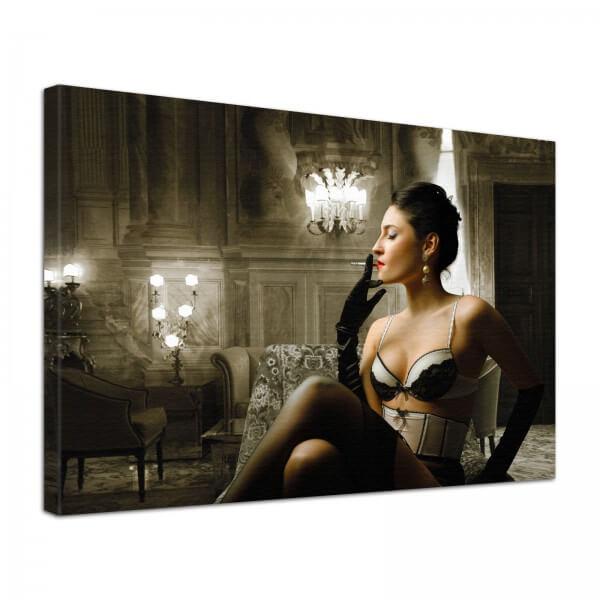 Leinwand Bild Erotik Moulin Rouge Dessous Rauch