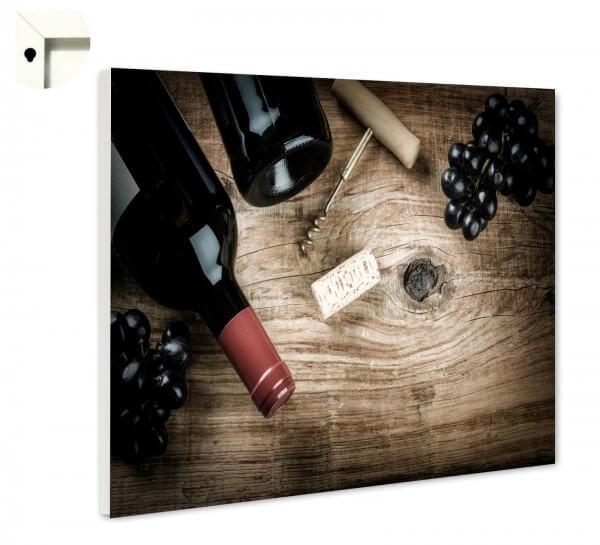 Magnettafel Pinnwand Rotwein Trauben Holz