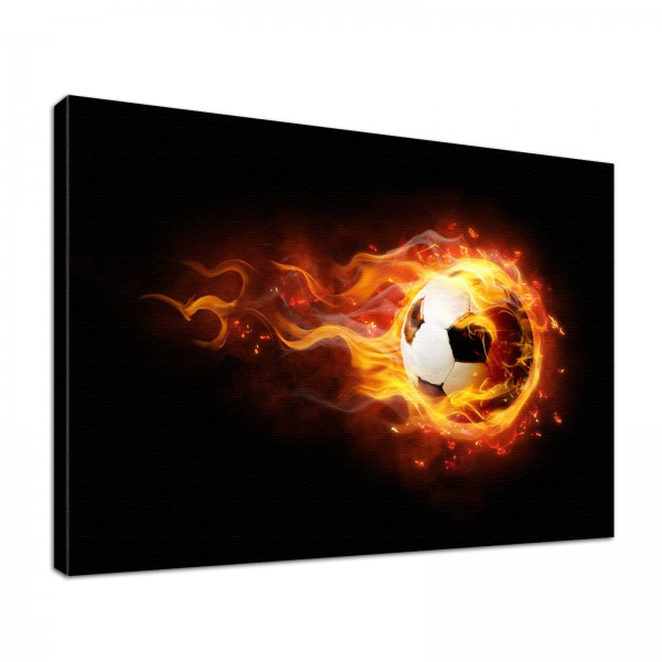 Leinwandbild Burn Fußball in Flammen