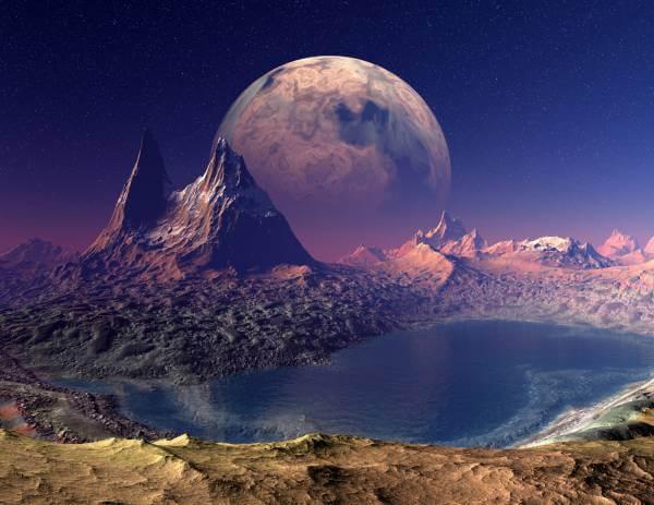 Poster Fototapete Fantasy Lila Planet