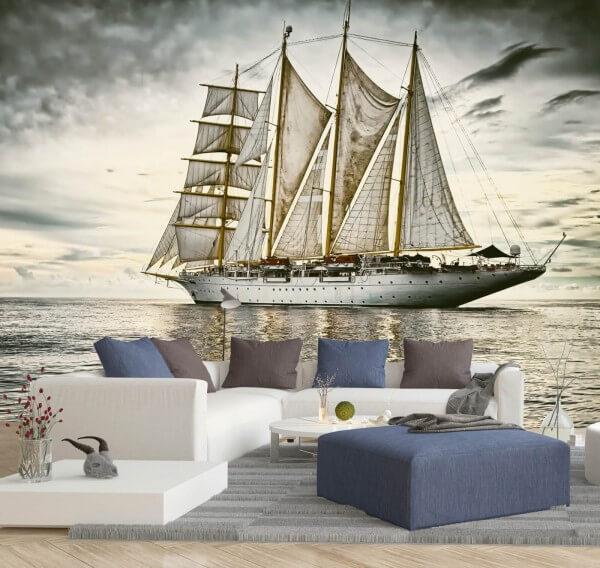 Vlies Tapete XXL Poster Fototapete Segelschiff Meer See