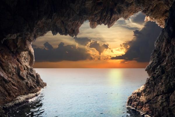 Magnettafel Pinnwand XXL Bild Natur Grotte Meer Felsen