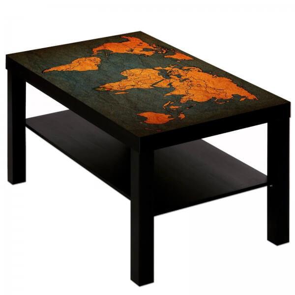 Couchtisch Tisch mit Motiv Bild Weltkarte Antik