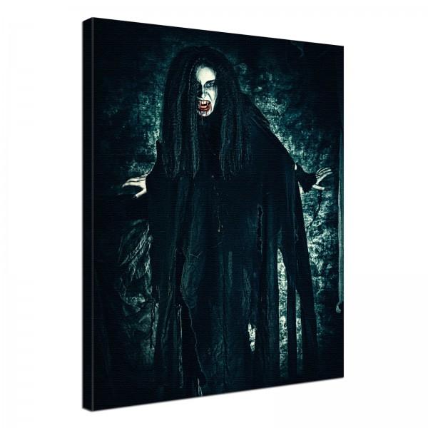 Leinwand Bild edel Gothic black Vampir Lady