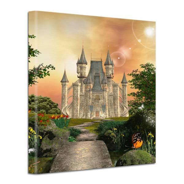 Leinwand Bild edel Fantasy Märchen Schloss