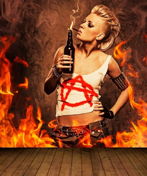 Vlies XXL Poster Fototapete Tapete Flammen Burn Anarchie