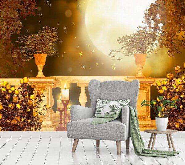 Vlies Tapete Poster Fototapete Balkon Romantik Mondschein