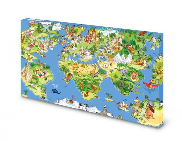 Magnettafel Pinnwand Bild Weltkarte für Kinder XXL gekantet
