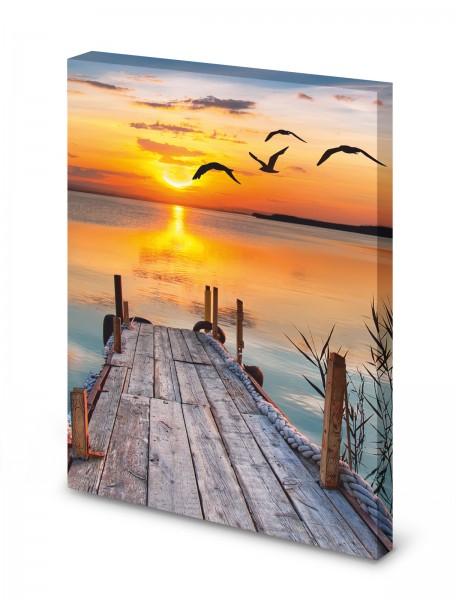 Magnettafel Pinnwand Bild Steg Abendsonne See Natur XXL gekantet