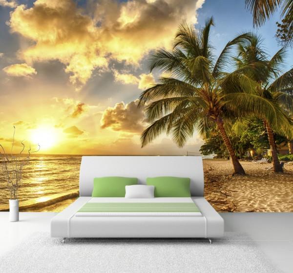 XXL Poster Fototapete Tapete Vlies Natur Karibik Palmen im Sonnenuntergang am Strand