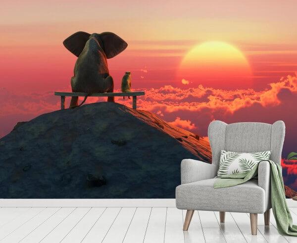 Vlies Tapete Fototapete Elefant Freundschaft Sonnenaufgang