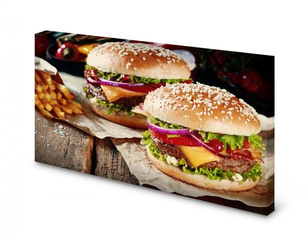 Magnettafel Pinnwand Bild Burger Hamburger Pommes Food