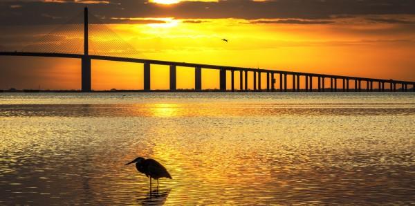 Magnettafel Pinnwand Bild Panorama Brücke Meer Sonnenuntergang