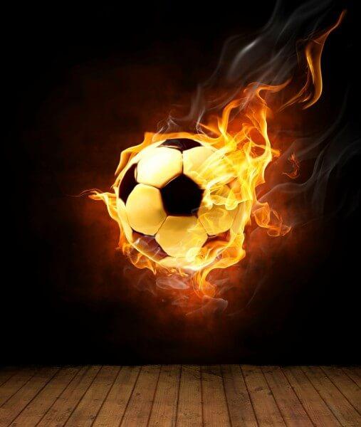 Vlies XXL Poster Fototapete Tapete Flammen Burn Soccer