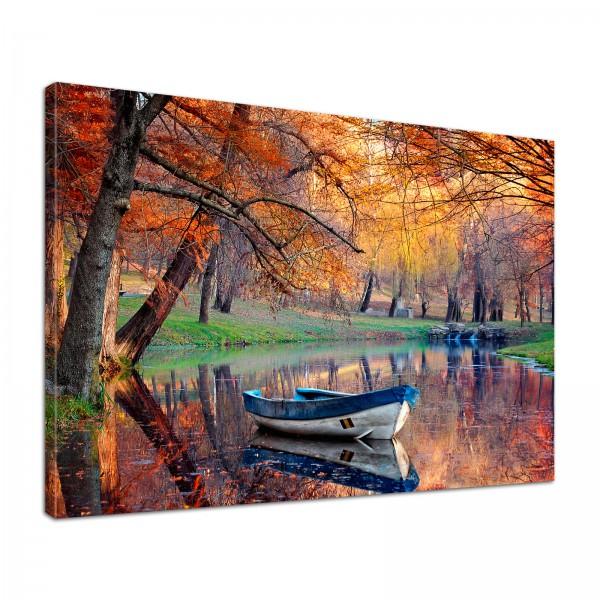 Leinwand Bild edel Natur Herbst am See