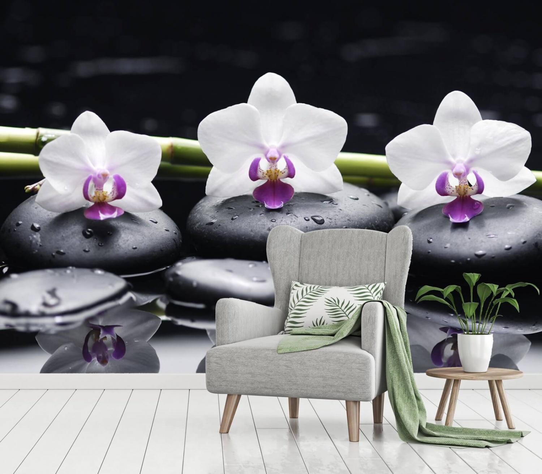 VLIES Fototapeten Fototapete POSTER Orchidee Spa Steine Natur Blumen 3FX11408VE