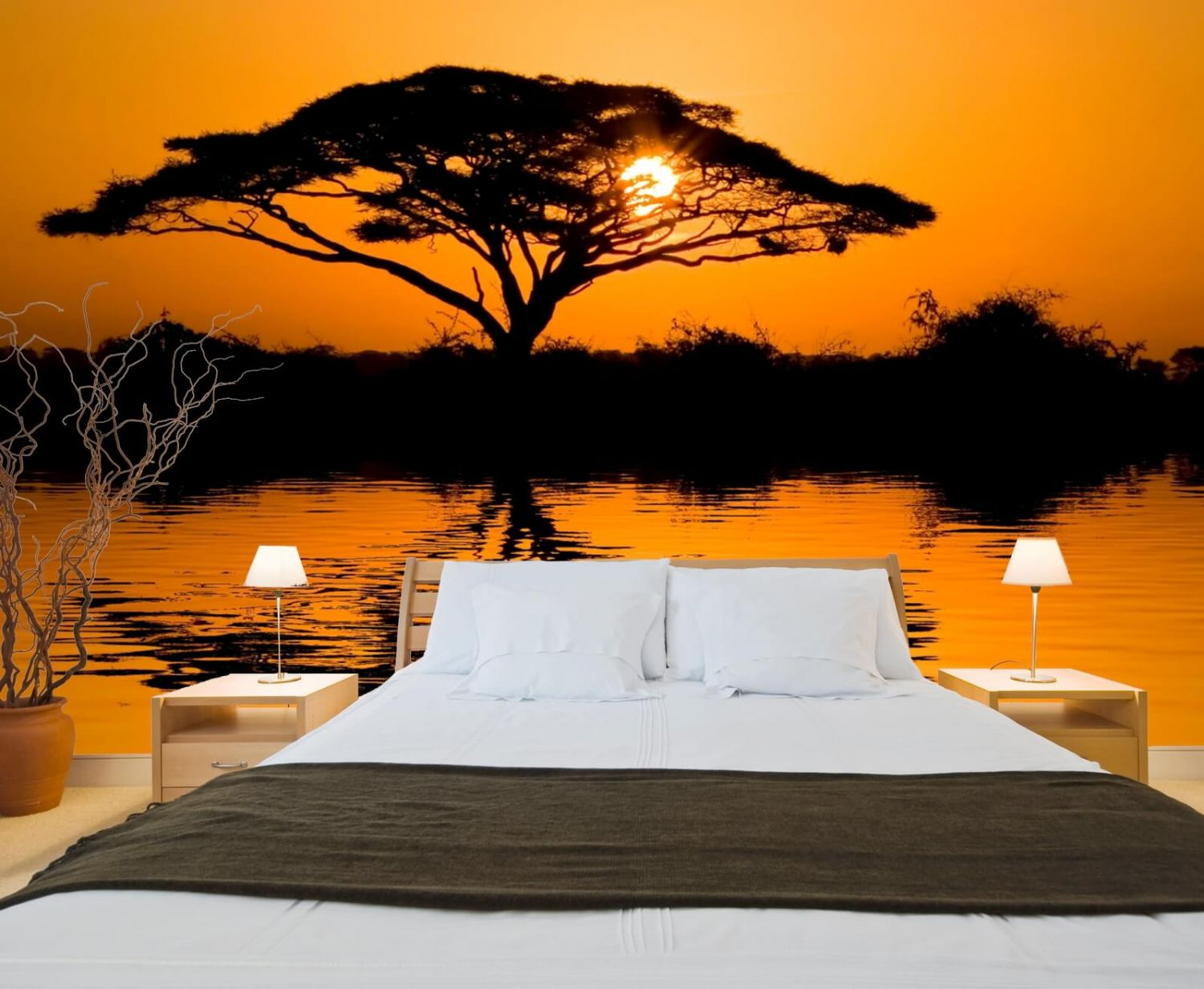 vlies xxl poster tapete fototapete natur afrika sonnenuntergang affenbrotbaum ebay. Black Bedroom Furniture Sets. Home Design Ideas