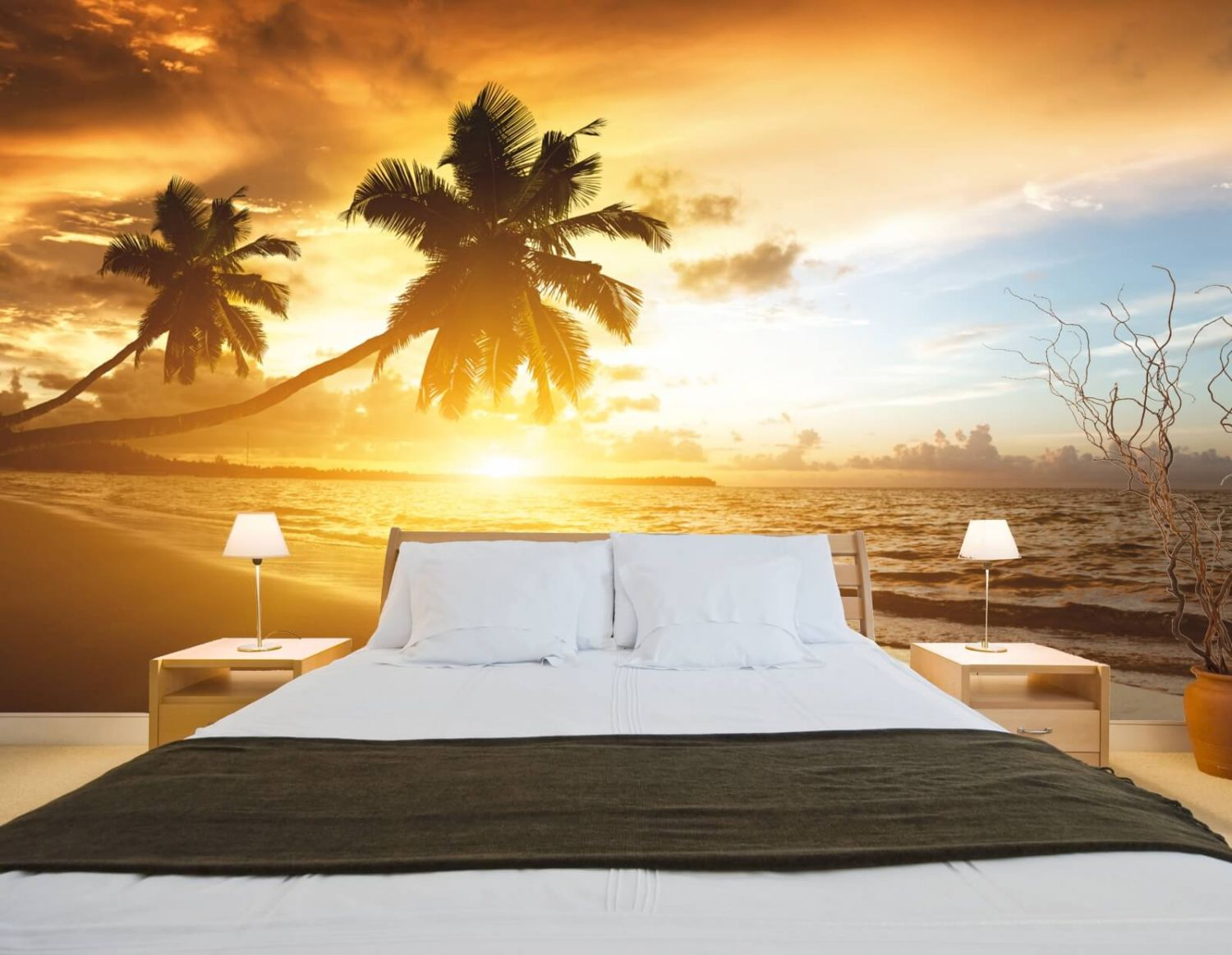 xxl poster fototapete tapete vlies natur palmen im sonnenuntergang ebay. Black Bedroom Furniture Sets. Home Design Ideas
