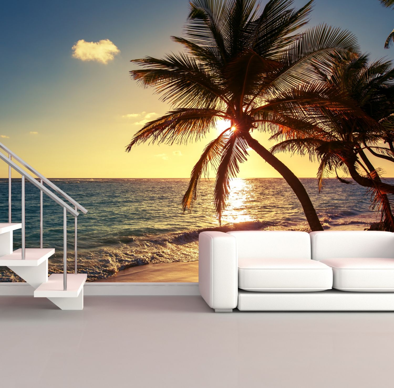 xxl poster fototapete wandtapete vlies natur karibik palmen im sonnenuntergang ebay. Black Bedroom Furniture Sets. Home Design Ideas