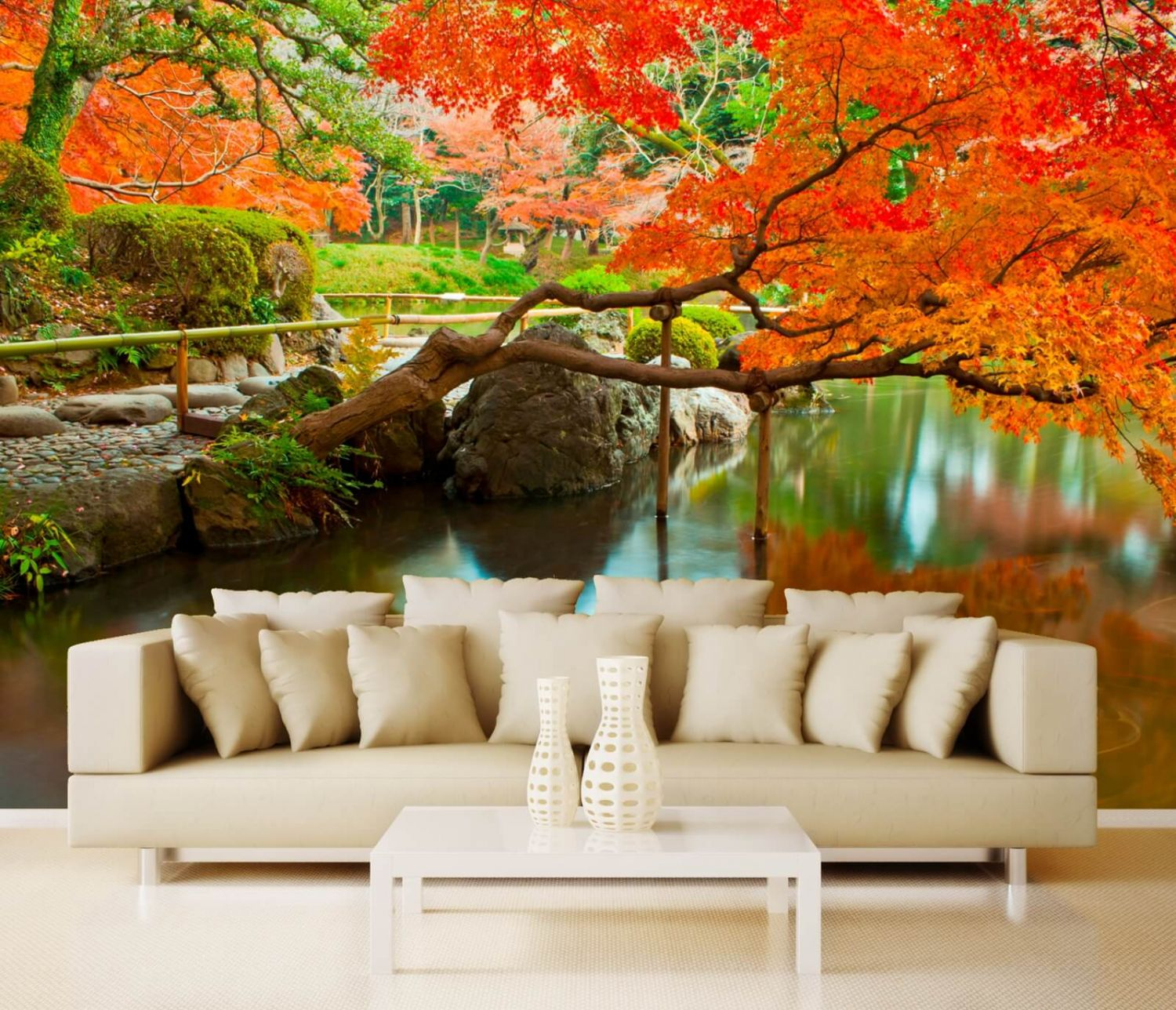 vlies xxl poster fototapete natur blumen japanischer garten ebay. Black Bedroom Furniture Sets. Home Design Ideas