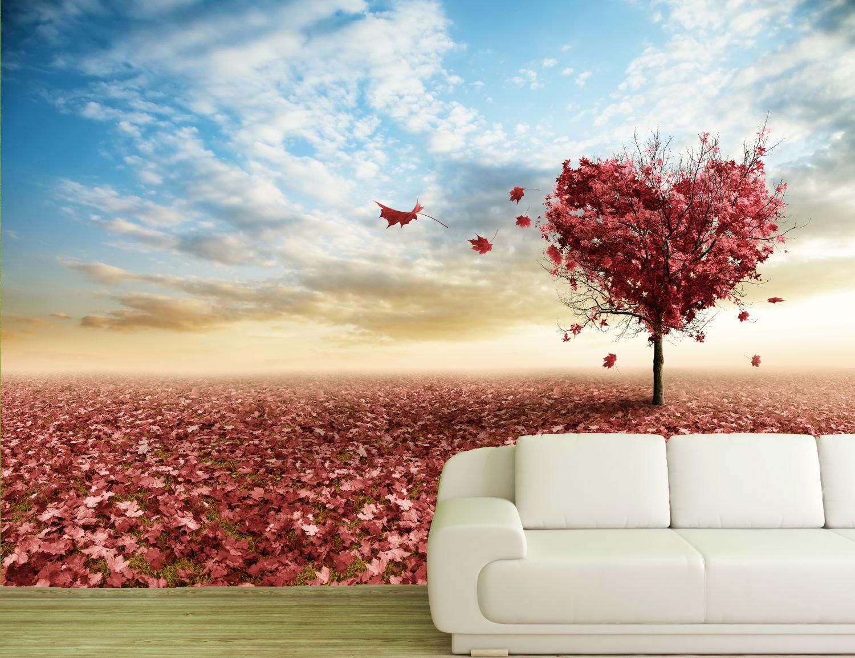 vlies xxl poster tapete fototapete natur herzbaum mit rotem laub ebay. Black Bedroom Furniture Sets. Home Design Ideas