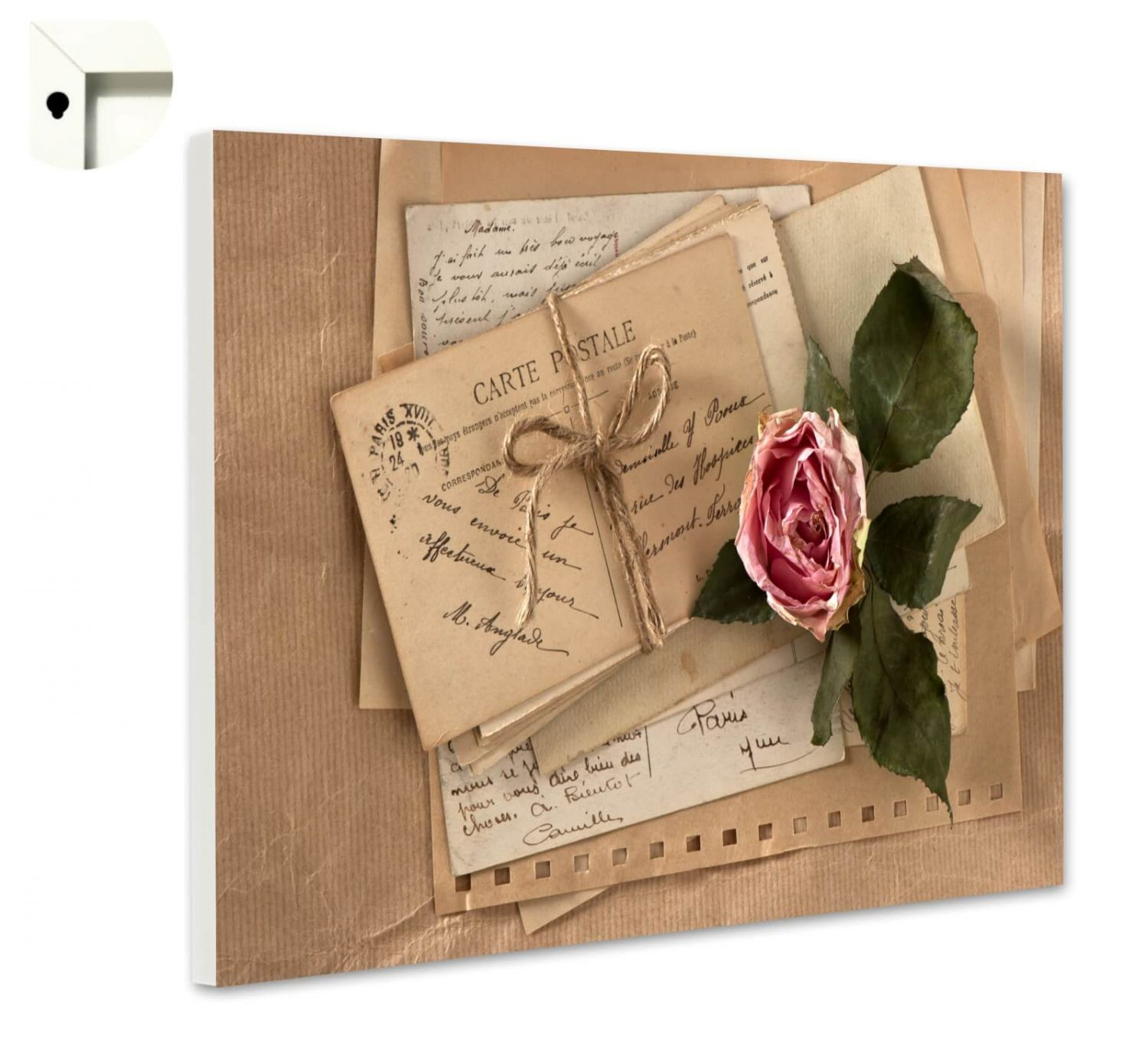 magnettafel pinnwand mit motiv vintage shabby chic postkarte rose ebay. Black Bedroom Furniture Sets. Home Design Ideas