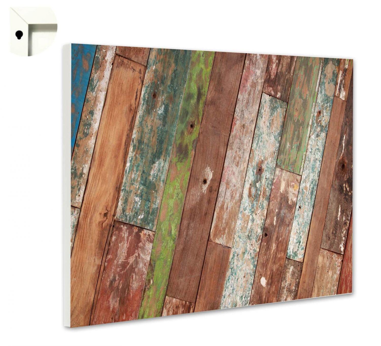 Magnettafel Pinnwand mit Muster Holz Planken bunt