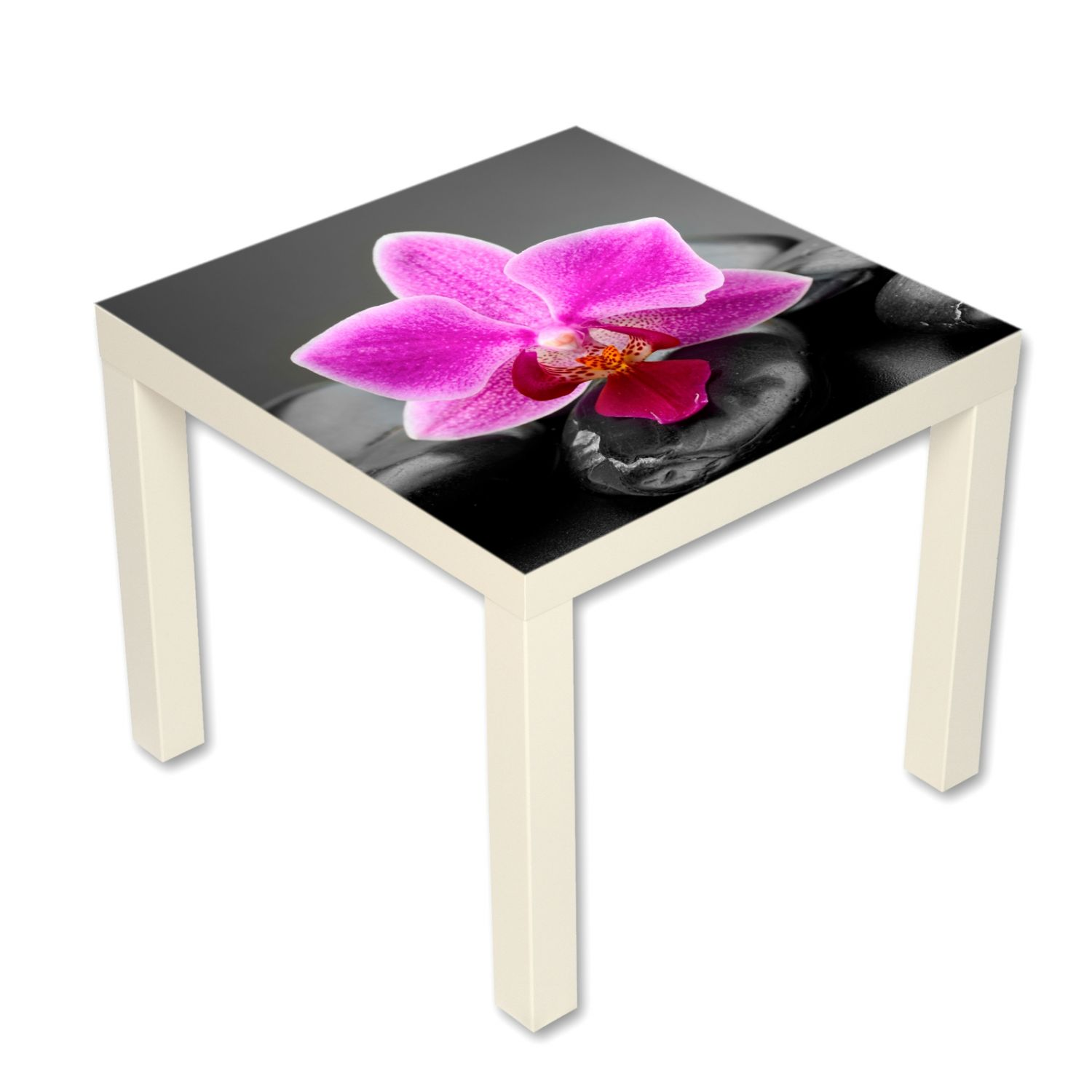 beistelltisch couchtisch mit motiv blumen rosa orchidee ebay. Black Bedroom Furniture Sets. Home Design Ideas