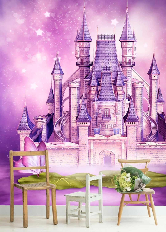 Details zu Vlies Tapete Fototapete Kinderzimmer Prinzessin Schloss rosa