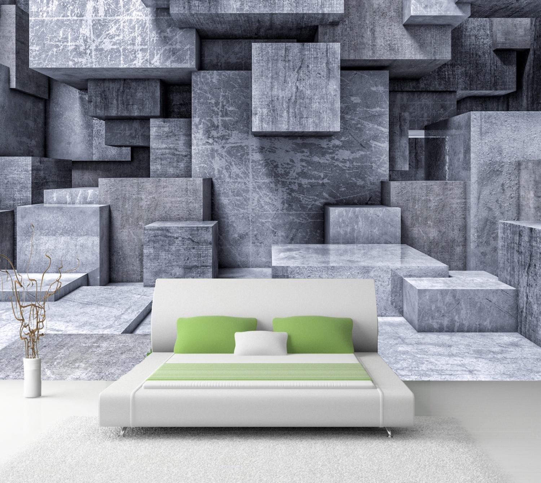 Vlies Tapete Fototapete 3D Effekt Würfel Beton grau | eBay