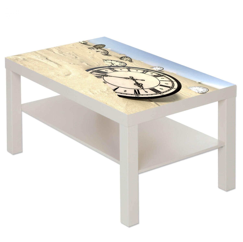 Couchtisch Tisch Mit Motiv Bild Retro Antik Uhr Im Sand Ebay